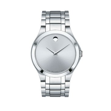 Movado Men's White Museum Dial Stainless Steel Watch, 40mm