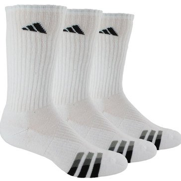 Adidas Men's 3 Pack Cushioned Crew Sock-White