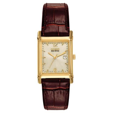 Citizen Men's Eco-Drive Gold Tone Tank Style With Brown Leather Strap Watch 26mm rectangle