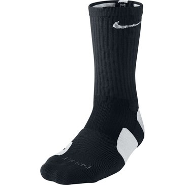Nike Elite Basketball Crew Sock -Black/White Size L