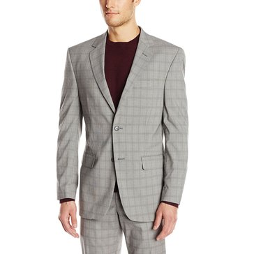 Perry Ellis Men's Light Grey Plaid Jacket