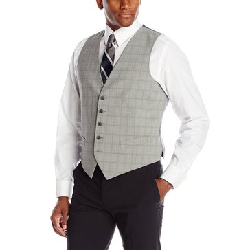 Perry Ellis Men's Light Grey Plaid Vest