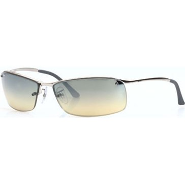 Ray-Ban Men's Top Bar Square Polarized Sunglasses RB3183, Gunmetal/ Silver Mirror Gradient 63mm