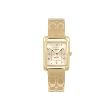 Coach Women's Page Gold Plated Logo Bracelet Watch, 24mm