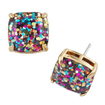 Kate Spade Gold Tone Small Square Multi Glitter Studs