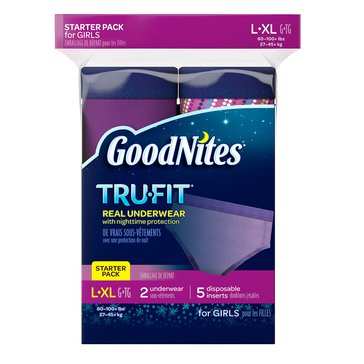 GoodNites Tru-Fit Underwear w/ Nighttime Protection Girls' Starter Kit - Size L/XL, 7-Count