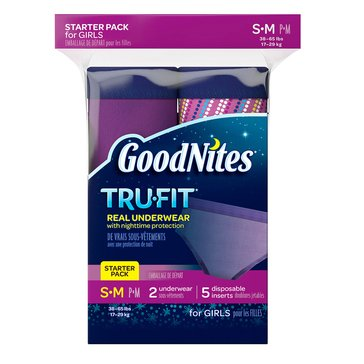 GoodNites Tru-Fit Underwear w/ Nighttime Protection Girls' Starter Kit - Size S/M, 7-Count