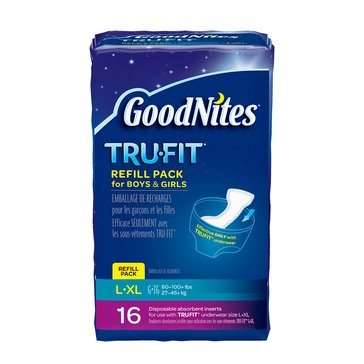 GoodNites Tru-Fit Underwear Disposable Inserts - Size L/XL, 16-Count
