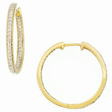 10K 3/4 cttw Hoop Earrings