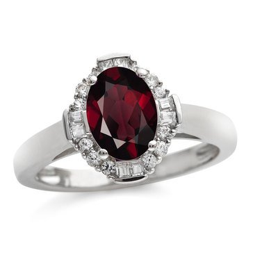 Sterling Silver Garnet and Created White Sapphire Ring