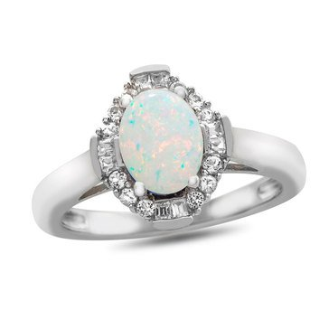Created Opal & Created White Sapphire Ring, Sterling Silver