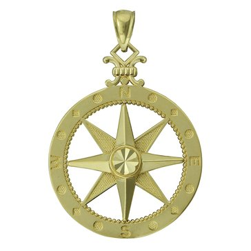 14K Large Compass Charm