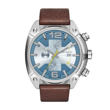 Diesel Men's Overflow Stainless Steel Leather Band 49mm