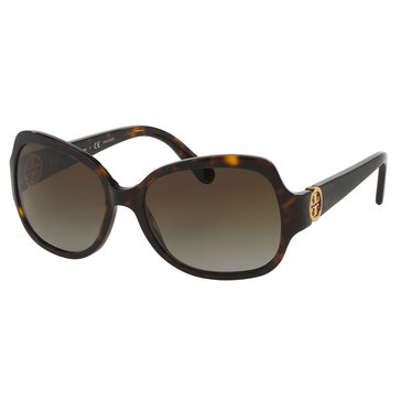 Tory Burch Women's Square Polarized Tortoise/Brown Sunglasses 57mm