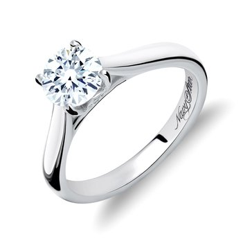 Navy Star 1/2 Cttw Solitaire Ring, 14K White Gold