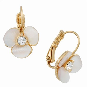 Kate Spade Gold Tone Disco Pansy Lever back Earrings