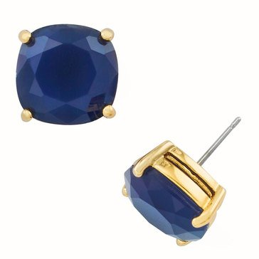 Kate Spade Gold Tone Small Square Navy Studs