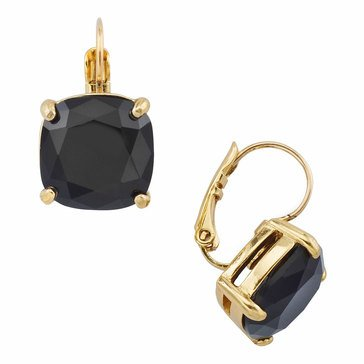 Kate Spade Gold Tone Small Square Jet Lever back Earrings