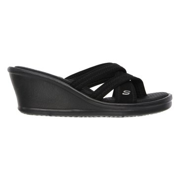 Skechers Cali Rumblers Young at Heart Women's Strappy Thong Sandal Black