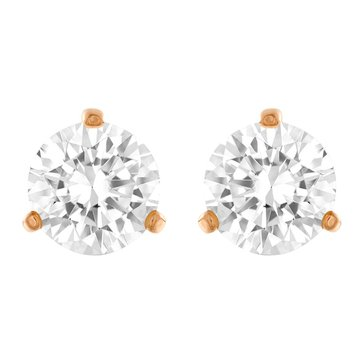 Swarovski Round Solitaire Earrings, Rose Gold Plated