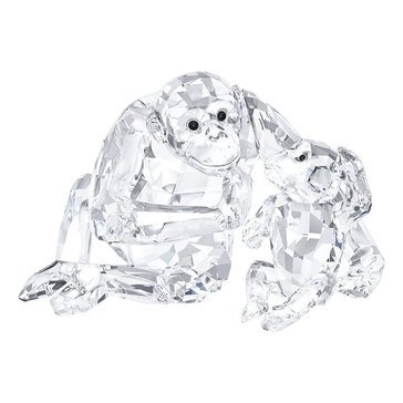 Swarovski Crystal Living Chimpanzee Mother With Baby