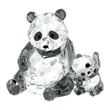Swarovski Crystal Living Panda Mother With Baby