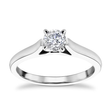 14K White Gold 1/2 Cttw Diamond Solitaire Ring