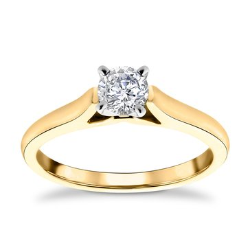 14K Yellow Gold 1/2 Cttw Diamond Solitaire Ring