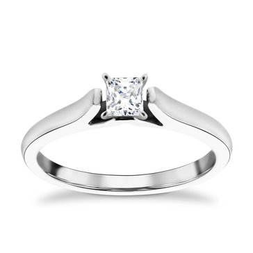 14K White Gold 1/4 Cttw Diamond Solitaire Ring