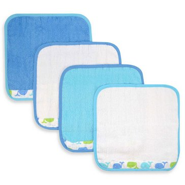 Just Born Sea Bright Whale 4-Pack Washcloth