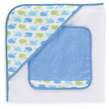 Just Born Sea Brights Whale Hooded Towel and Washcloth Set