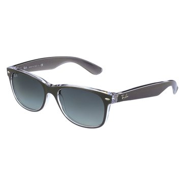Ray-Ban Unisex New Wayfarer Classic Sunglasses RB2132, Gunmetal on Clear/ Grey Gradient 55mm