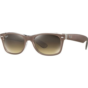 Ray-Ban Women's New Wayfarer Classic Sunglasses RB2132, Taupe on Clear/ Brown Gradient 52mm