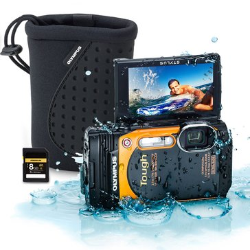 Olympus TG-860 16 MP Tough Waterproof Digital Camera Patriot Kit- Includes 8GB SD Card