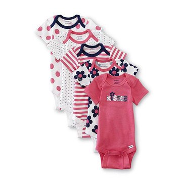 Gerber Baby Girls' 5-Pack Fashion Onesies, Size 9M