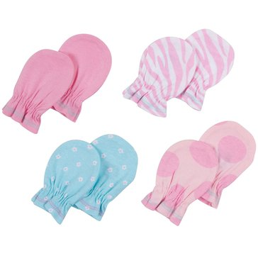 Gerber Baby Girls' 4-Pack Mittens
