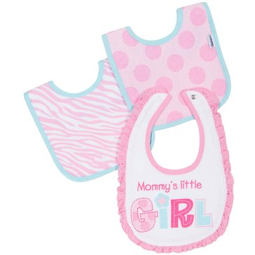 Gerber Baby Girls' 3-Pack Terry Dribbler Bibs