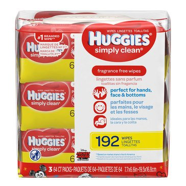 Huggies Simply Clean Unscented Baby Wipes, 216-Count (3-Pack)