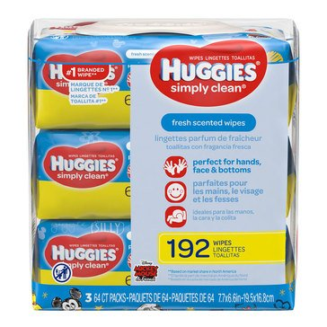 Huggies Simply Clean Gentle Fresh Scented Baby Wipes, 216-Count