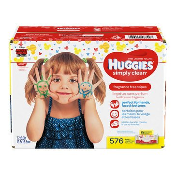 Huggies Simply Clean Unscented Baby Wipes, 648-Count