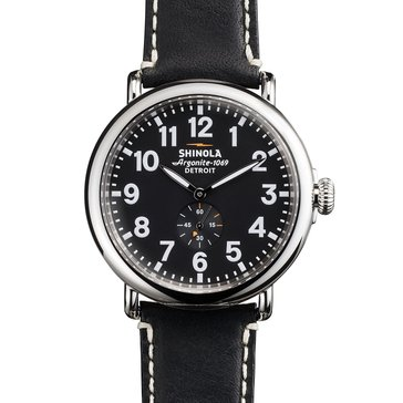 Shinola Men's Guardian Black Leather Strap Watch, 47mm