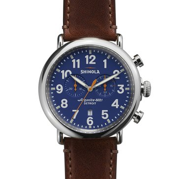 Shinola Men's Guardian Blue Subeye Dial Stainless Steel with Brown Strap Chronograph Watch, 47mm