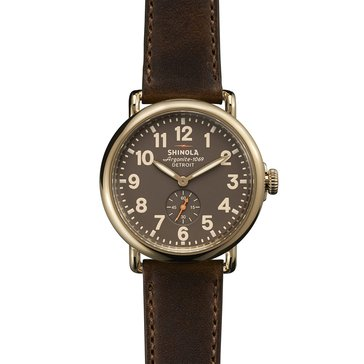 Shinola Unisex Runwell Leather Gray Dial Dark Brown Leather Strap Watch 41mm