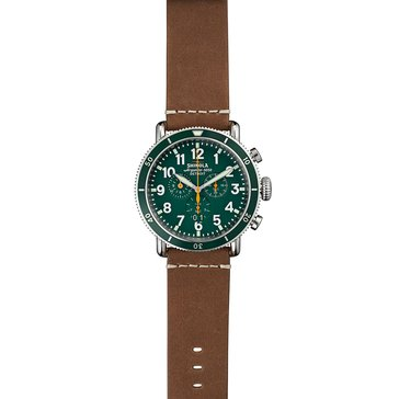 Shinola Men's Runwell Chronograph Green Dial Oatmeal Leather Strap Watch 48mm