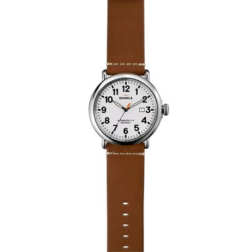 Shinola Men's Runwell Brown Leather Strap Watch, 47mm