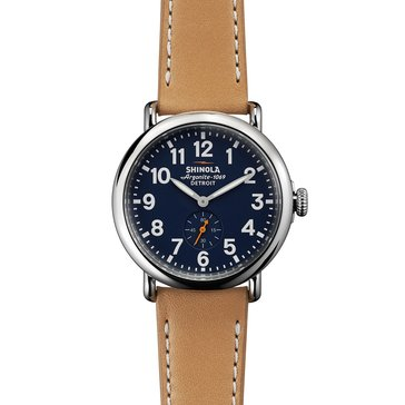 Shinola Unisex Runwell Leather Strap Watch, 41mm
