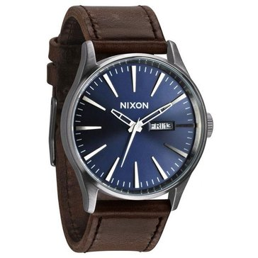 Nixon Men's Sentry Blue/Brown Leather Watch, 42mm