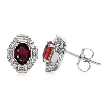 Sterling Silver Garnet and Created White Sapphire Earrings