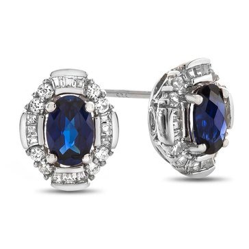 Sterling Silver and Created Sapphire Earrings