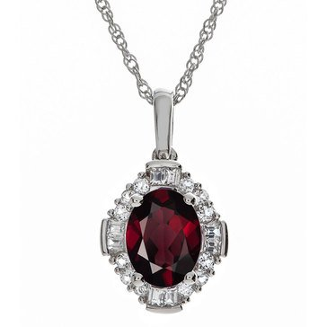 Sterling Silver Garnet and Created White Sapphire Pendant